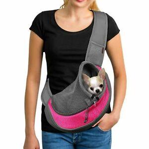 Yudodo Pet Dog Sling Pink Breathable Mesh Travel Safe Sling Bag Carrier S/M