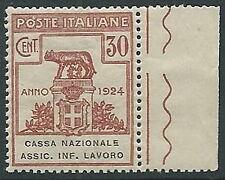 1924 REGNO PARASTATALI CASSA NAZIONALE LAVORO 30 CENT LUSSO MNH ** - M37-7