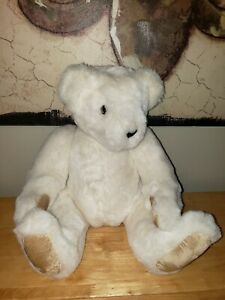 """1994 The Vermont Teddy Bear Co White 18"""" Jointed Plush"""