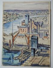 Ipswich Suffolk original painting of the Docks by Archibald Ward ARCA, rare