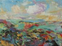 Art Original Oil Painting RM Mortensen Landscape Seascape Sunset Horizon Clouds