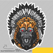 Gorilla Wearing Aztec Headdress Pow Vinyl Sticker Decal Window Car Van Bike 2424