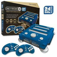Retron 3 3in1 Retro Console 2.4GHz for Nintendo NES SNES Sega Genesis Games Blue