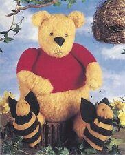 Pattern Primitive Teddy Bear Doll w/ Bumble Bee Slippers Uncut Oop Indygo Junct