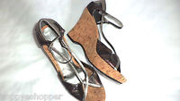 Kenneth Cole Kate Metallic Leather High Wedge Platform Shoes Graphics Women 10