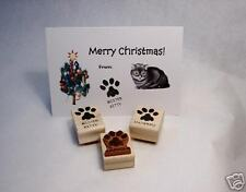 Personalized Kitty Pawprint, Wood Mounted Rubber Stamp