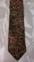 417 Van Heusen Tie Silk Floral Design Red Gray NIB t964