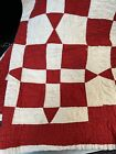 Antique Quilt Red & White Holidays Christmas!! 🎄🌲🎄 Double bed Sz