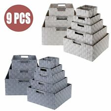 9 Pack Woven Storage Basket Bin with Handle Home Organizer for Office Closet Toy