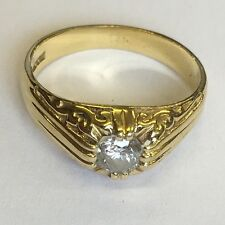 Ornate Solid 18ct Yellow Gold Men's Diamond Signet Ring Size M 1/3ct Diamond
