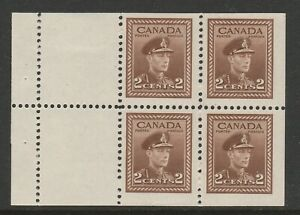 Canada 1942 2c Booklet pane of 4 + 2 labels SG 376a Mint.