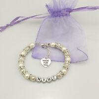 New name Personalised Girl baby Birthday Christmas Gift Charm Bracelet white