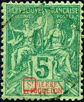 """COLONIES SAINT-PIERRE-et-MIQUELON N° 62 Oblitéré Variété """"S AVEC GRANDE BOUCLE"""""""