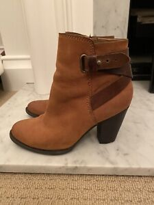 Bonbons Tan Ankle Boots Western Inspired , Ec36