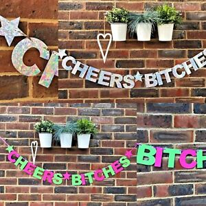 CHEERS BITCHES BANNER HEN DO HEN PARTY BUNTING BRIDE TO BE DECORATIONS FUN PARTY