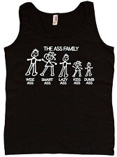 Ladies tank top the Ass Family funny car decal joke womens tee top black tshirt