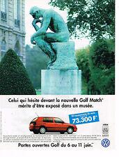 PUBLICITE ADVERTISING 045  1996   VOLKSWAGEN   GOLF MATCH