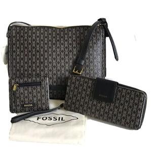 FOSSIL Set Crossbody Bag Purse + Zip Clutch + Bifold Wallet + Dust Bag NWT $224