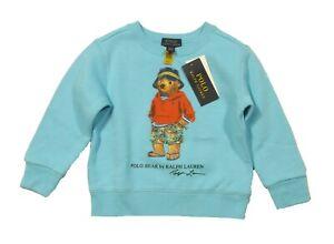 Polo Ralph Lauren Boys Aqua Blue Polo Bear Fleece Lined Sweatshirt