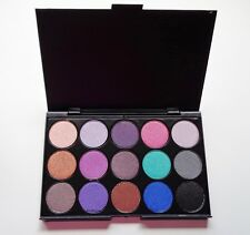 15 Colour Eye Shadow Palette Shimmer Bright Bold Smokey Shades Blue Green Purple
