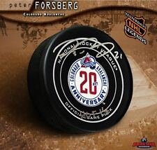 PETER FORSBERG Signed Colorado Avalanche 20th Anniversary Official Game Puck