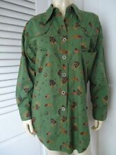 MIXED COMPANY Shirt S Oversized Cotton Blouse Green Western Equestrian Cowboy