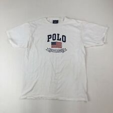 Mens Vtg POLO Sport Ralph Lauren White USA Flag Logo T-Shirt Sz L Street Wear