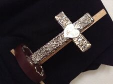 """Standing Brown Milagro Cross 12"""" x 7 1/2"""" x  1 3/4"""", Stand  7"""" x  4 1/2"""" x  1 1/"""