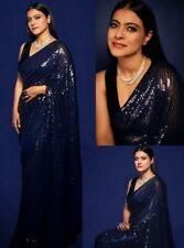 Kajol Georgette Premium Sari Sequence Saree Bollywood Party Pakistani Indian