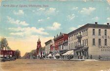 Washington Iowa~North Side Square~Grocery~Restaurant~Men on Corner~1910 Postcard