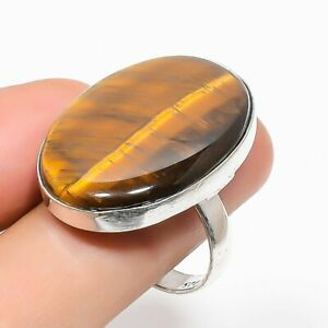 Tiger Eye Gemstone Handmade Ethnic Jewelry Ring Size 8RL-30039