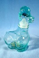 Vintage ITALIAN Vetreria Etrusca Aqua Glass Poodle Bottle with label & stopper
