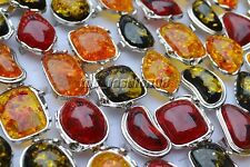 Adjustable Imitation Amber Silver Plated Ring Big Rings 10pcs/lot Wholesale FREE