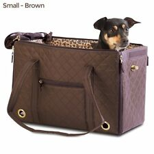 New Sherpa park tote size small pet carrier brown lambskin liner blanket