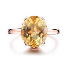 Solid 18K Rose Gold Ring Genuine Citrine Oval Shape 12x10mm Fine Vintage Antique