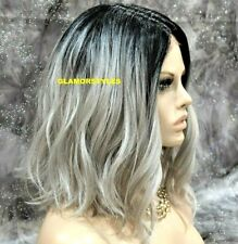 Human Hair Blend Lace Front Full Wig Bob Wavy Ombre Off Black Gray Mix HairPiece