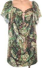 Sixteen Stretch size 1X short sleeve paisley keyhole blouse pull over shirt top