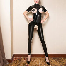 Women Latex Catsuit Open Bust Bra Crotchless Cupless Jumpsuit Wet Look Bodysuit