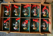 10 Thomas Pacconi Classics Vintage Glass Christmas Tree Large Baubles Wooden Box