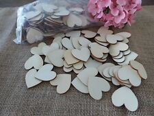 200 Wood Wooden Hearts ~ Guest book Personalize Sign Wedding Rustic Craft Supply