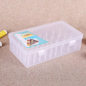42 Compartments Sewing Thread Holders Storage Box, Clear Plastic Organizer Case
