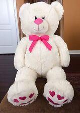 "BIG White Teddy Bear Plush 39"" Valentine Pink Bow Heart Paws KELLYTOY Unused!"