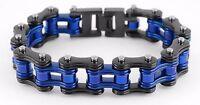 Men's Stainless Steel Black Blue Bike Chain Police Special Bracelet USA Seller!