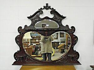 ANTIQUE / VINTAGE MAHOGANY KIDNEY SHAPED OVER MANTLE MIRROR
