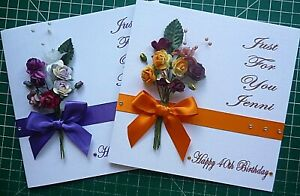 Personalised Handmade Beautiful Bunch of Flowers Birthday card (6 in square)