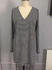 RACHEL ZOE NEW SHORT DRESS TUNIC BLACK AND WHITE STRIPES SIZE M FREE SHIPPING