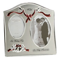 40th Ruby Wedding Anniversary Silver Plated Double Photo Frame Gift Ideas 55040