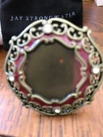 New Jay Strongwater Photo Frame Antiqued Brass Enamel SwarovskiCrystal Pouch NEW