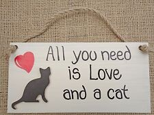 Shabby Chic All You Need Is Love and a Cat Sign Plaque Friend Christmas Gift