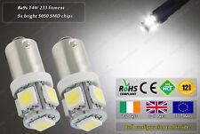 2x LED 4500k Xenon White 233 T4W BA9S 9mm Bayonet Bulbs Lamps Lights Torch 6v DC